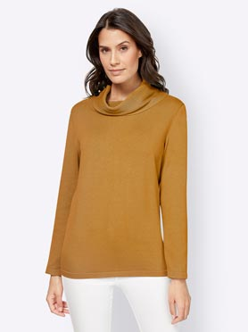 Pull col roulé jaune curry