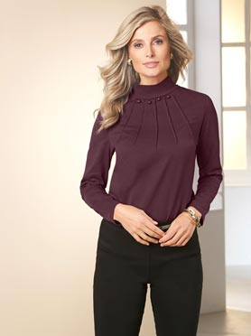 T-shirt col montant boutons fantaisies nervure aubergine