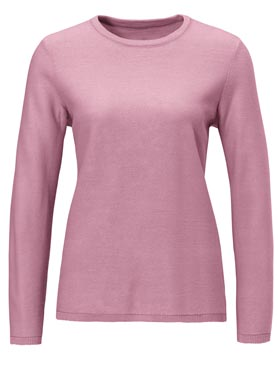 Pull féminin col rond toucher douceur rose