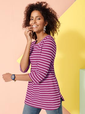 T-shirt long manches 3/4 coupe féminine magenta a ra