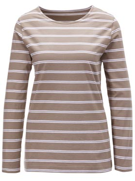 T-shirt femme rayé bicolore col rond manches longues taupe à rayures fines