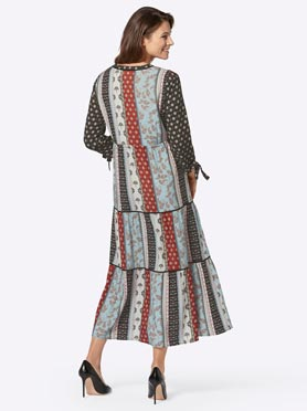 Robe longue effet patchwork manches 3/4