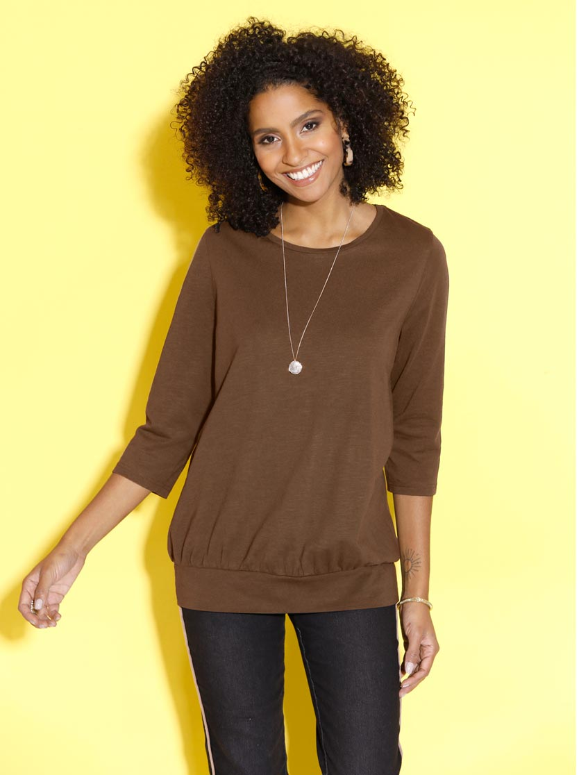 T-shirt femme long col rond manches 3/4
