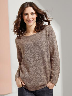 Pull effet chiné encolure ronde et manches longues taupe