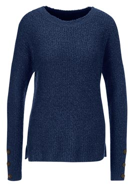 Pull col rond toucher moelleux boutons en bois marine
