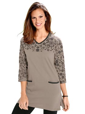 T-shirt long taupe-noir