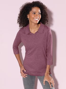 Polo femme col v ouvert manches 3/4