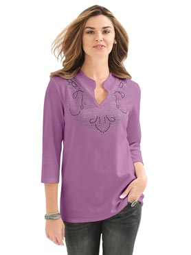 Tee-shirt femme original col V motifs brillants