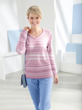 Pull multicolor textures rayures rose