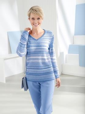 Pull multicolor textures rayures bleu jean