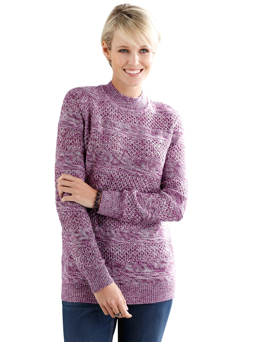 Pull col montant avec motif rayures
