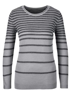 Pull gris à rayures fines
