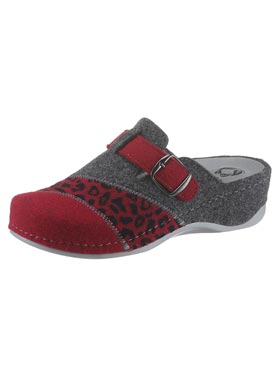 Mules rouge-anthracite