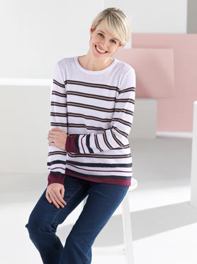 Pull rayé multicolore col rond blanc à rayures fines