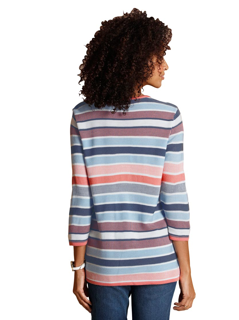 Pull femme manches longues à rayures
