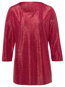 T-shirt brillant col rond manches 3/4 rouge