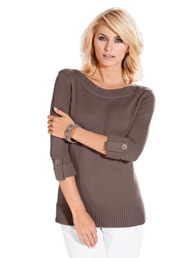 Pull femme manches 3/4 revers boutonnés taupe chiné