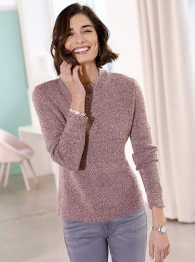 Pull rose chiné