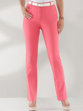 Jean femme taille haute coupe flatteuse rouge corail