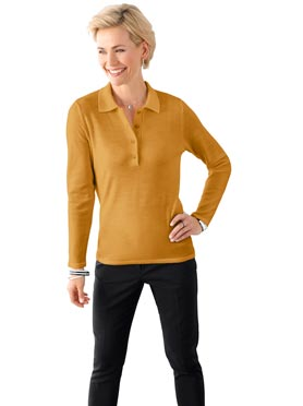 Pull femme avec col polo jaune curry