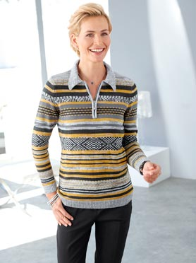 Pull femme col polo avec motifs