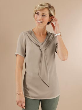 Tunique chic a double boucles taupe