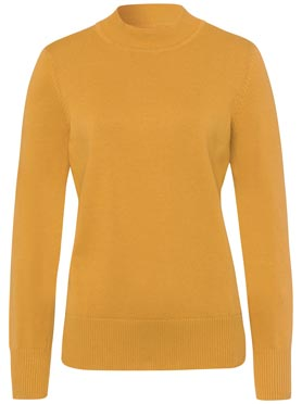 Pull femme basique col montant manches longues ocre