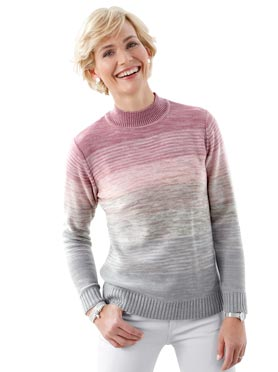Pull femme aspect tricot col montant