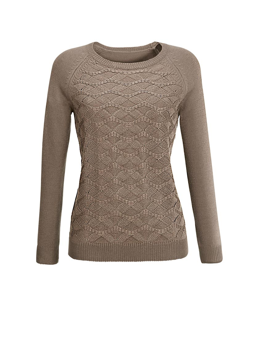 Pull tendance coupe féminine effet tricot