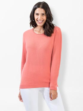 Pull cachemire corail chiné