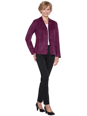 Blazer simili cuir velours coutures princesse prune