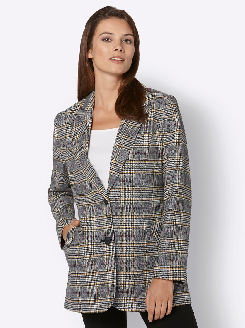 Blazer femme long à carreaux motif Prince de Galles multicolore