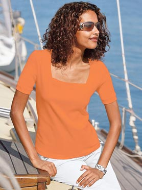 T-shirt femme élégante encolure carrée orange
