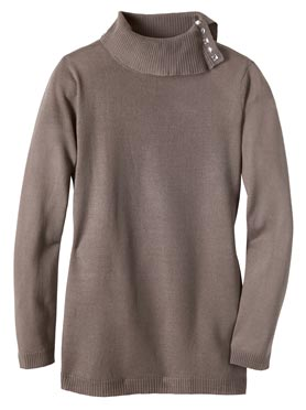 Pull féminin col montant avec boutons fantaisie taupe