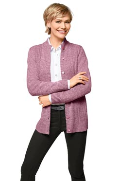 Cardigan féminin chiné col montant rose chine