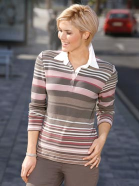 Polo femme rayé manches longues col chemise