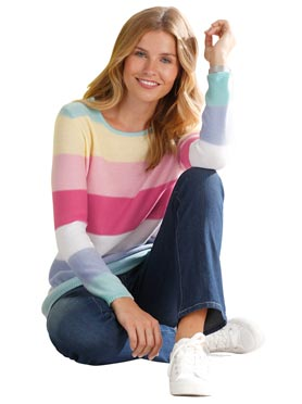 Pull féminin à grosses rayures multicolores