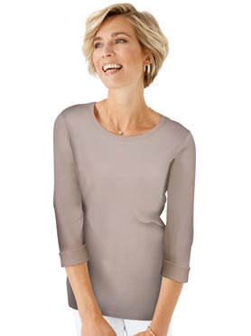 Pull simple et confortable col rond taupe