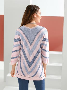Pull rayures V affinantes multicolores