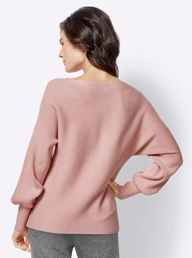Pull femme côtes horizontales encolure ronde manches bishop