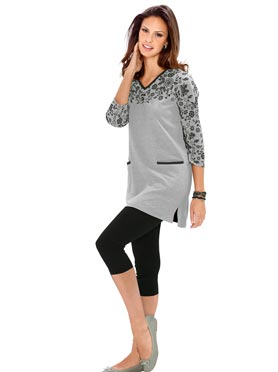T-shirt long gris chine