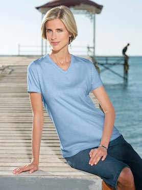 T-shirt femme simple confortable col V