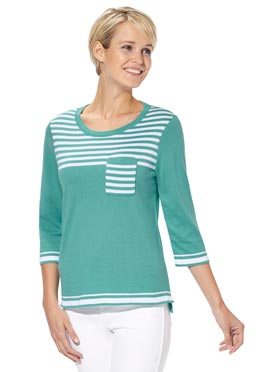 Pull turquoise-blanc