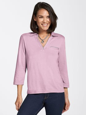 T-shirt femme col polo ouvert fausse poche passepoilée manches 3/4 rose