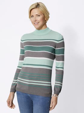 Pull rayé en tricot fin multicolore col montant turquoise à rayures fines