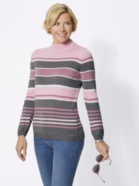 Pull rayé en tricot fin multicolore col montant rose à rayures fines