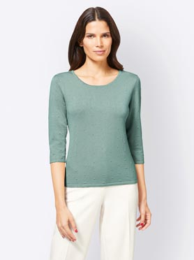 Pull col rond menthe