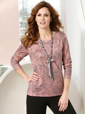 Pull tricot fin imprimé col rond manches 3/4