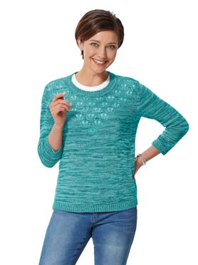 Pull turquoise chiné