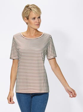 T-shirt femme rayures col rond taupe à rayures